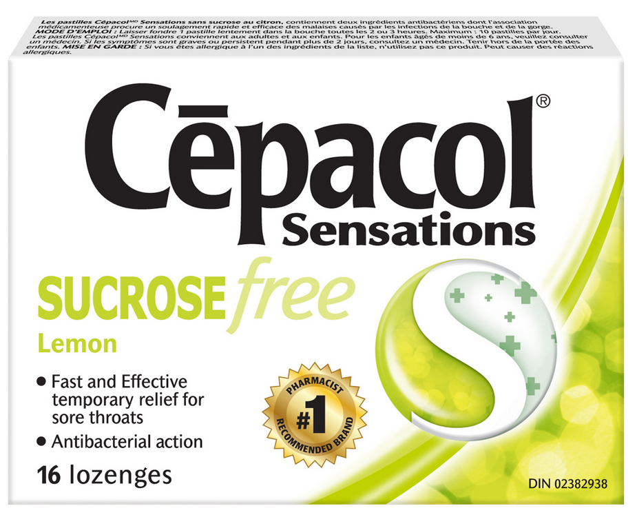 CEPACOL Sensations Sucrose Free Lemon Lozenges Canada Photo