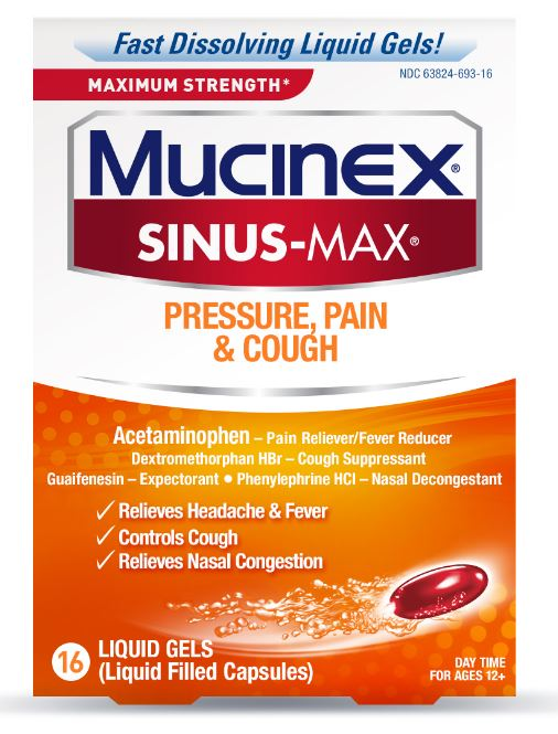 MUCINEX® SINUS-MAX® Liquid Gels - Pressure, Pain & Cough