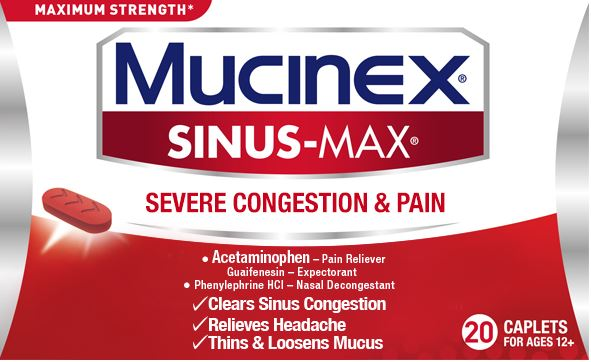 MUCINEX SINUSMAX Severe Congestion  Pain Caplets Photo