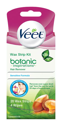 VEET® Botanic Inspirations™ Wax Strip Kit Hair Remover - Bikini, Underarm & Face - Wipes