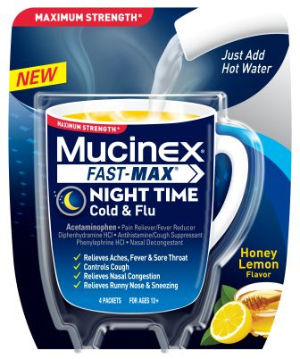 MUCINEX FASTMAX Night Time Cold  Flu Packets Photo