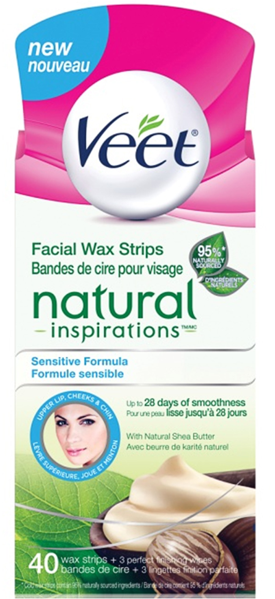 VEET® Natural Inspirations™ Facial Wax Strips - Sensitive Formula (Wipes) (Canada)