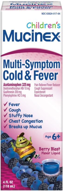 MUCINEX CHILDRENS MultiSymptom Cold  Fever  Berry Blast  Photo