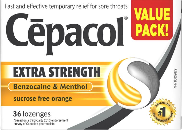 CEPACOL® Extra Strength Sucrose Free Orange Lozenges (Canada)