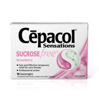 CEPACOL Sensations Sucrose Free Strawberry Lozenges Canada Photo