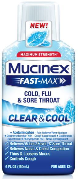 MUCINEX® FAST-MAX® Clear & Cool Adult Liquid - Cold, Flu & Sore Throat