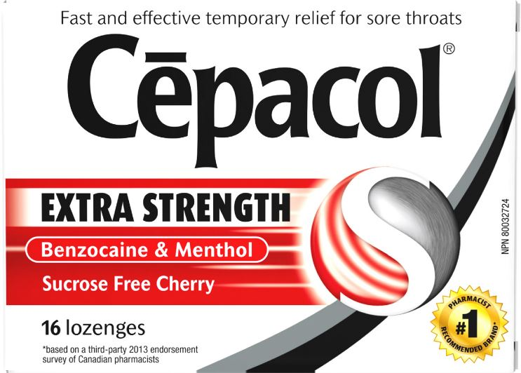 CEPACOL Extra Strength Sucrose Free Cherry Lozenges Canada Photo