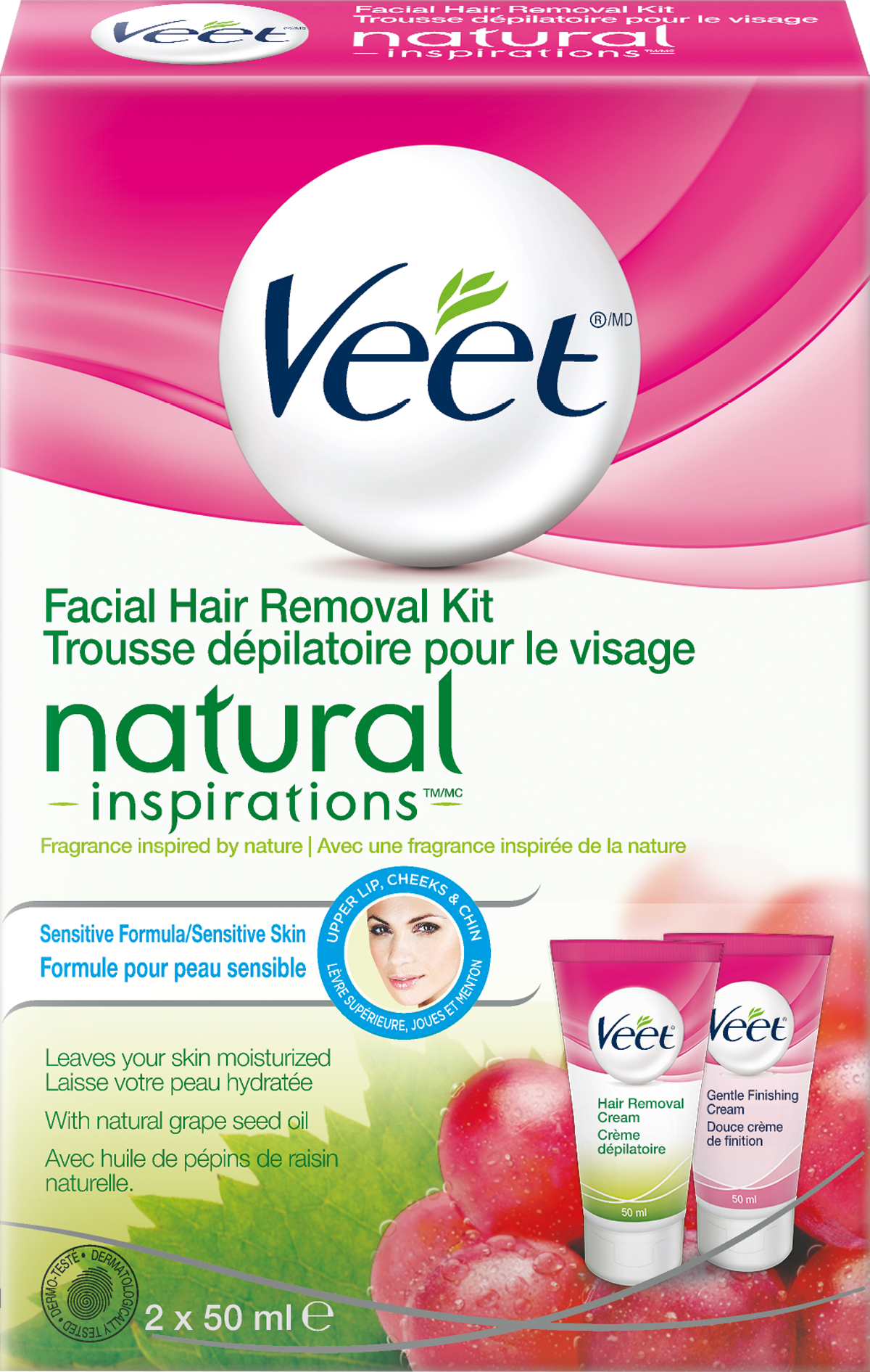 Veet Natural Inspirations Facial Hair Removal Kit Gentle