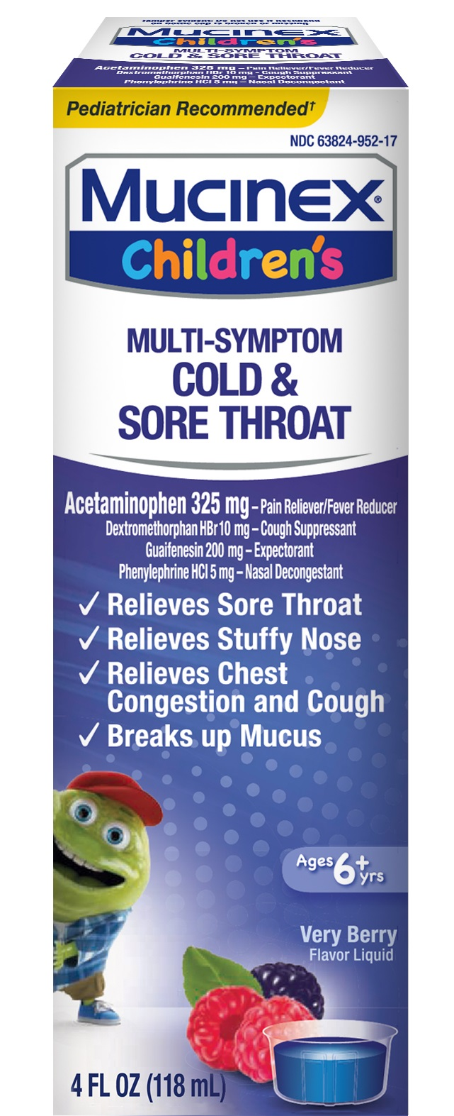 MUCINEX® Children's Multi-Symptom Cold & Sore Throat - Very Berry