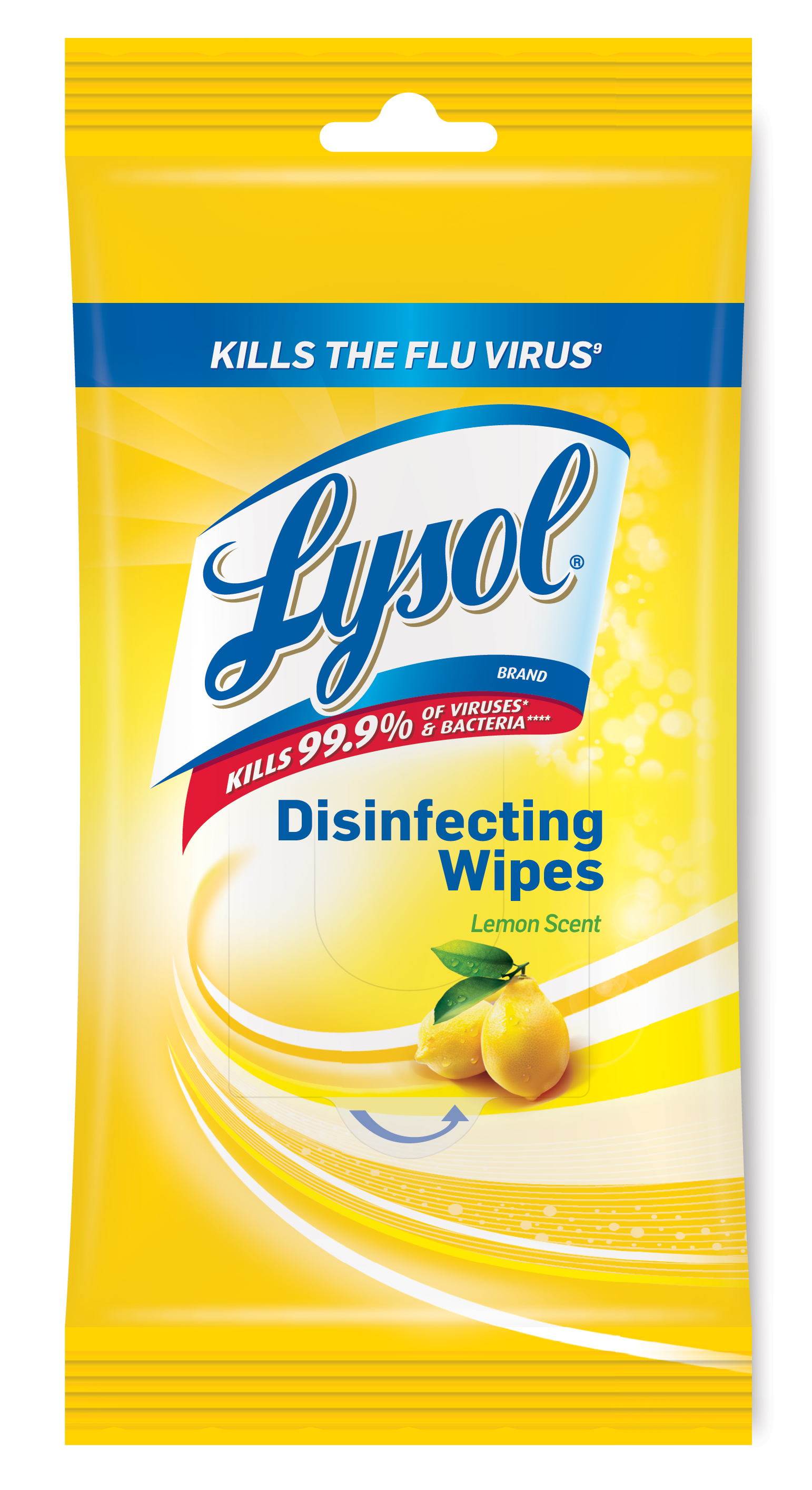 LYSOL® Disinfecting Wipes Packet - Lemon Scent