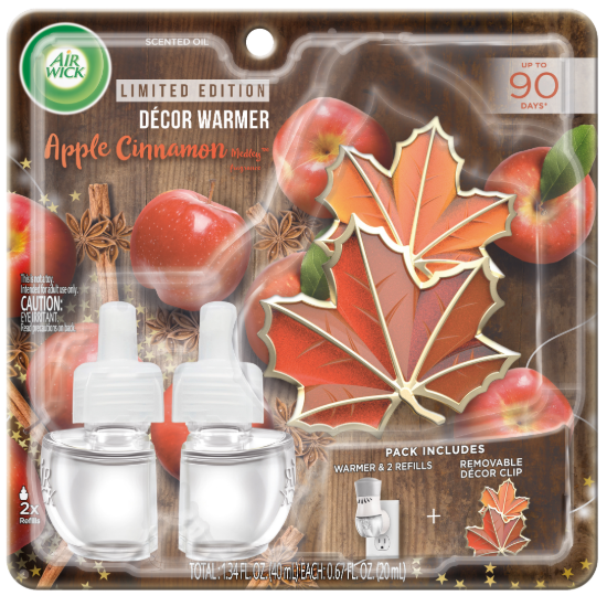 AIR WICK® Scented Oil - Apple Cinnamon Medley - Kit (Leaves Decor Clip)