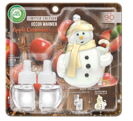 AIR WICK® Scented Oil - Apple Cinnamon Medley - Kit (Snowman Decor Clip)