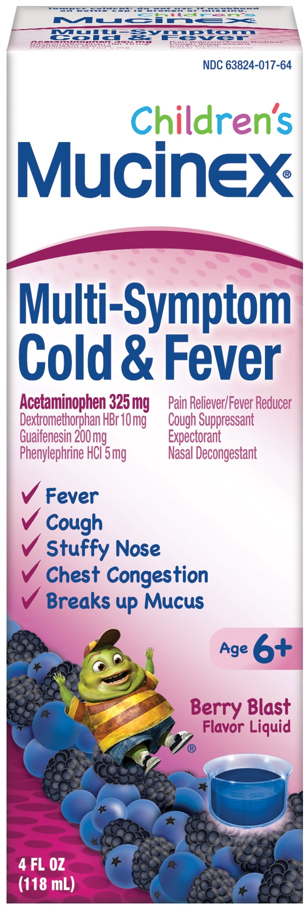 MUCINEX Childrens MultiSymptom Cough Cold  Fever  Very Berry Photo