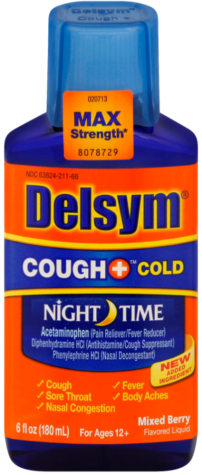 DELSYM® COUGH+® Cold Night Time Liquid - Mixed Berry