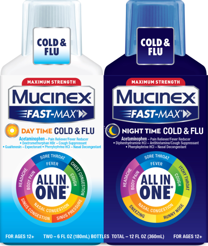 MUCINEX FASTMAX Adult Liquid  Day Night Cold  Flu Day Photo