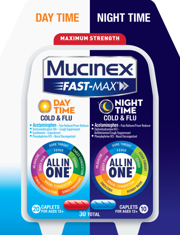 MUCINEX® FAST-MAX® Caplets - Day Night Cold & Flu (Day)