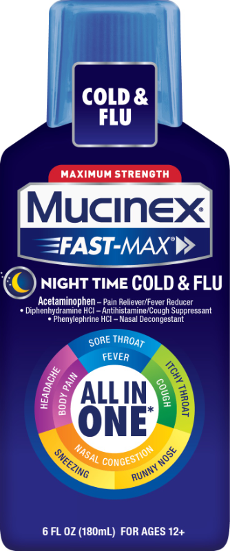 MUCINEX® FAST-MAX® Adult Liquid - Nighttime Cold & Flu