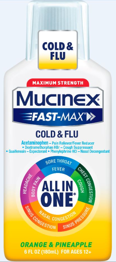 MUCINEX® FAST-MAX® Adult Liquid - Cold & Flu Orange & Pineapple