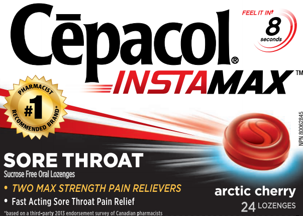 CEPACOL INSTAMAX Sore Throat Lozenges  Arctic Cherry  Sucrose Free Canada Photo
