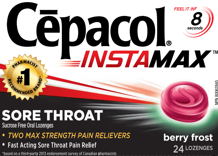 CEPACOL® INSTAMAX™ Sore Throat Lozenges - Berry Frost - Sucrose Free (Canada)
