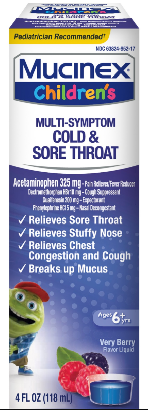 MUCINEX® Children's Multi-Symptom Liquid - Cold & Sore Throat Very Berry