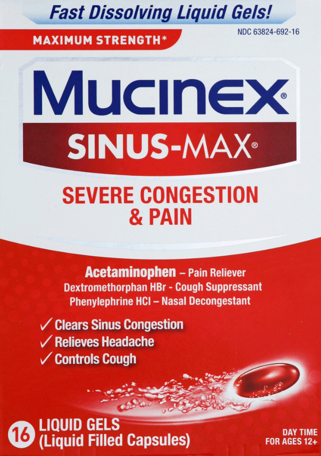 MUCINEX SINUSMAX Liquid Gels  Severe Congestion  Pain Photo