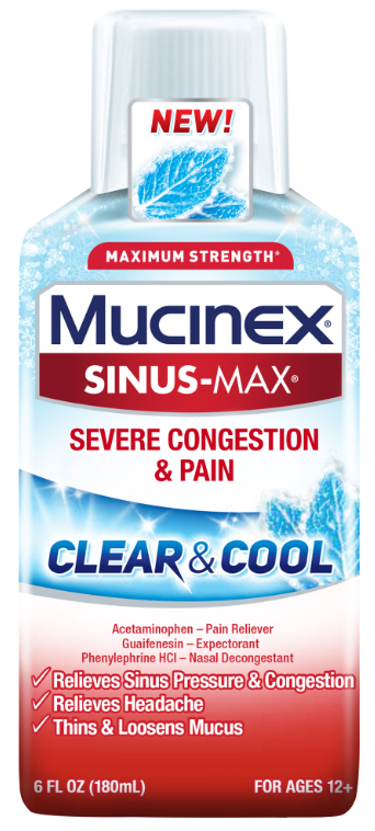 MUCINEX® SINUS-MAX® Clear & Cool Adult Liquid - Severe Congestion & Pain